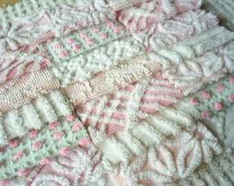 Vintage Chenille Bedspread Squares - Pinks and White with Daisy and Rosebud-21-6""