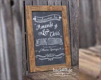 Wedding Celebration welcome sign (W-040) - chalkboard finish 24x40