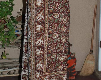 "Hippie Pants - 39 1/2"" Long - Hips 52"" - Kalamkari Green Brown Elephant - fits many sizes -check Measurements"
