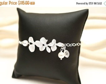 Bridesmaid JewelrySet of 5 Silver Orchid with Initial Bridal Bracelets