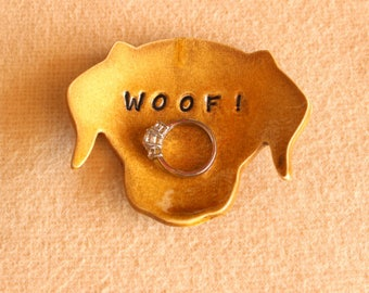 Ceramic DOG Ring Dish - Handmade Amber Porcelain Dog Ring Dish - Dog WOOF - Ready To Ship