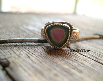 Sterling Silver Jewelry  -  Watermelon Tourmaline Ring  -  Rustic Ring  -  Women's Ring  -  Statement Ring  -  SimpleeSilver Jewelry