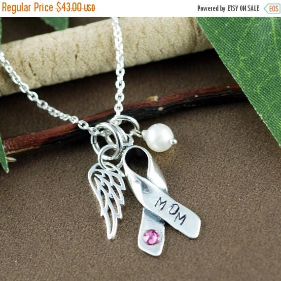 15% OFF SALE Breast Cancer Awareness Necklace,  Cancer Ribbon Necklace, Silver Angel Wing Necklace, Inspirational Jewelry, Breast Cancer Gif