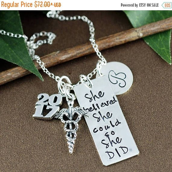 15% OFF SALE Personalized Nurse Gift, Medical Graduation, She believed she could so She Did Necklace | Graduation Gift for DR | Gift for Gra