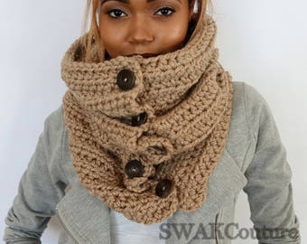 Hooded Cowl Snood Handmade Unisex Cowl 6 Button Wool Cowl Beige Tan or Choose Your Color