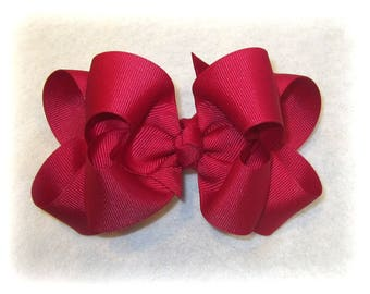 Girls hair bows, Double layer bow, Girls Hairbows, Azelia Red Bow, Large hairbows, big bow, 4 5 inch hairbows, stacked bow, Red Hair Bows