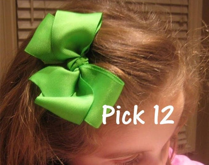 Girl Hair Bows, Large Boutique Hair Bows - Lot set of 12 hairbows - 5 inch Bows, Girls Bow Set - Wholesale Bows - Baby Hairbows - Headbands