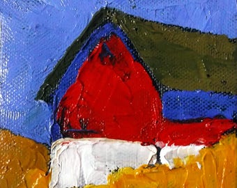 Miniature Impressionist Oil Painting 4x4 Plein Air California FARM BARN Hollister Landscape Lynne French Art