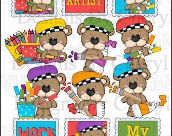 Big Eye Bear Little Artist Clipart Collection - Immediate Download