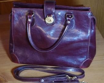Vintage BRAHMIN Brown Leather Gold Hardware Purse Handbag with strap