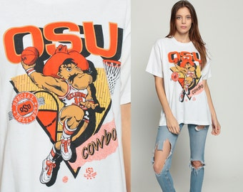 Basketball T Shirt OSU COWBOYS Oklaholma State University Shirt 90s TShirt Sports Graphic Tee Retro Vintage White Tee Extra Large xl