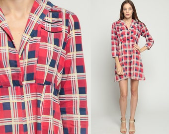 70s Babydoll Dress Mod Mini Plaid Print Red Navy Blue 1970s Boho Empire Waist Preppy Vintage MiniDress V Neck Long Sleeve Medium Large