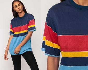 Striped TShirt 80s T Shirt Hipster Retro Tee Vintage DISTRESSED Sports 1980s Short Sleeve Red Blue Yellow Large