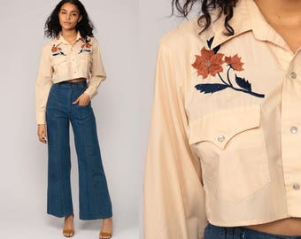 Western Shirt EMBROIDERED 70s Pearl Snap Floral Crop Top Cowboy Button Up 1970s Vintage Hipster Long Sleeve Blouse Rockabilly Small Medium