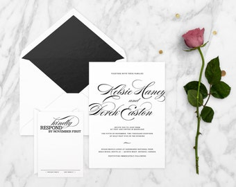The 'Willow' Romantic Calligraphy Wedding Invitation Suite (Sample)