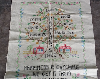 Vintage Cross Stitch Happiness Tree Sampler Motto Suitable for Framing