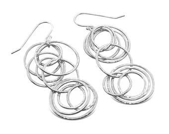 Sterling silver long bubbly earrings, statement earrings, dangle earrings, gift for her