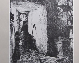 James Whistler -  The Kitchen - Black and White Etching, 9 x 12 in Vintage Book Page, American Artist