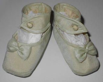 Dainty Antique Ankle Strap Silk Baby or Doll Shoes in a Pale Jade Green Color