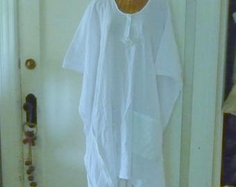 White Rose Caftan Cover Up Dress 1x, 2x, 3x, 4x, 5x, 6x, Beach Pool Plus Size Embroidered Eyelet with Pocket, Sleeves Tissue Silk Art Wear