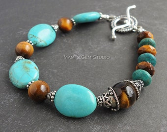 Turquoise & Tiger Eye Bracelet with Bali Sterling Silver | Blue Green Teal Brown Gemstone Beaded Bracelet - Handmade Jewelry