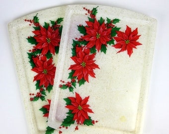 Shop Sale Vintage 1960s Tray / Gold Glitter Fiberglass Poinsettia Serving Tray / Retro Kitsch Christmas / Two Available