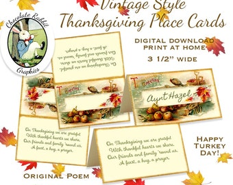 Thanksgiving Place Cards Digital Download Printable Poem Party Dinner Tags Favors Vintage Style Image Graphics Clip Art Scrapbook Sheet