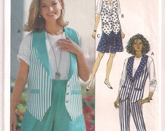 Butterick 6708 Misses Vest Shorts Pants Wide Leg Shorts Tapered Pants Easy Sewing Beginner Pattern Size 12 14 16