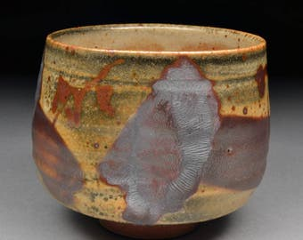 This Amazing Large Handmade Stoneware Yunomi Tea Cup Glazed with Shino, Iron Oxide and Iron Slip