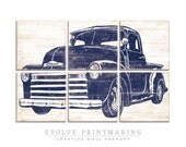 Vintage Pickup Truck Wall Art - Rustic Automobile - Chevy Pickup - Birthday Gift - Boys Room Wall Art Decor - Classic Truck Print Wood Sign