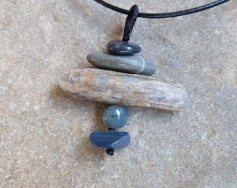 Opal potch, beach stone, Kyanite, Moss Agate pendant necklace - handmade in Australia by NaturesArtMelbourne, grey blue jewellery
