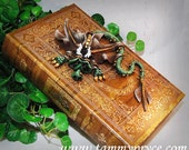 Ooak Polymer Clay Green & Brown Sad Little Dragon Sculpture on Large Golden Book / Box #765 Fantasy Home Decor and Storage