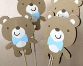 Teddy Bear Centerpiece, Teddy Bear Centerpiece Sticks, Teddy Bear Birthday Party, Teddy Bear Baby Shower, Teddy Bear Party, Boy, Set of 6