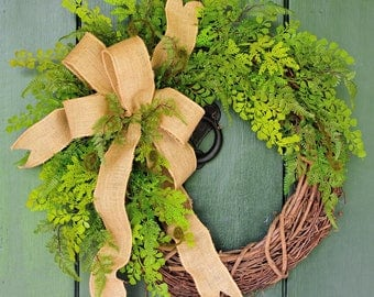 Greenery, Fern Wreath, Year Round Wreath, Fern Wreath, Burlap Wreath, Summer, Spring, Burlap, Ferns, Garden Decor, Door Wreath