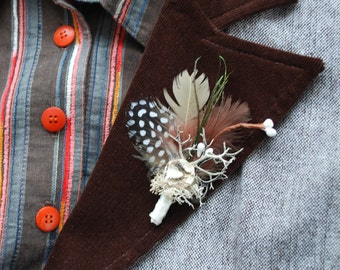 Woodland Weddings Grooms Boutonniere, Rustic Forest Wedding, Grooms Weddings Accessory, Rustic Groomsmen Boutonniere, Bridesmaids Pin