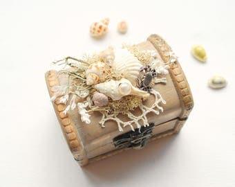 Seashells Ring Bearer Box Pillow, Engagement Ring Holder, Nautical Vintage Wood Chest Box, Nautical Hawaiian Mermaid Beach Weddings Party
