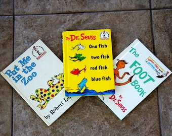 Vintage Dr Seuss  Children Books  I Can Read Collection One Fish Two Fish Red Fish Blue Fish Put Me In the Zoo The Foot Book Set of Three