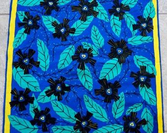Vintage Scarf Floral Bold Boho Cotton Brazil Dimpus Blue Aqua Yellow Black