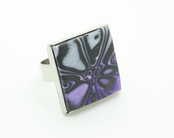 Purple, white, and black chunky, large polymer clay abstract statement ring with adjustable band