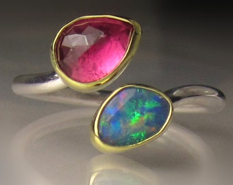 Boulder Opal and Pink Tourmaline Ring, 18k Gold and Sterling Silver, Open Face Bypass Ring, size 6.5-6.75