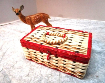 Vintage Small Sewing Box, Woven Wicker, Hinged Lid, Dark Rose Pink Satin Lined, Sweet Shabby Chic Sewing Basket, Wood
