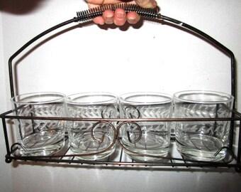 Vintage Mad Men 5 Piece Cocktail Set w/ 4 Etched Glasses, Pitcher + Carrier / Rack, MCM Sophisticated, Convenient Cocktail Service, Lowball