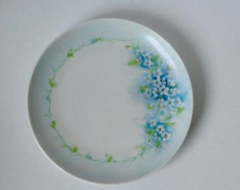 Vintage Hand Painted Forget Me Nots Flowers Porcelain Plate.