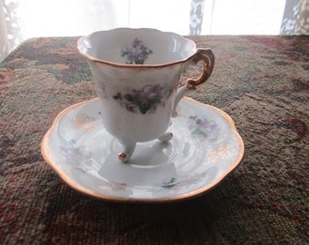 Lefton China, Japan, Hand Painted, 3 Footed, Teacup Saucer Set , Crown, Demitasse, Violets, Pattern 111