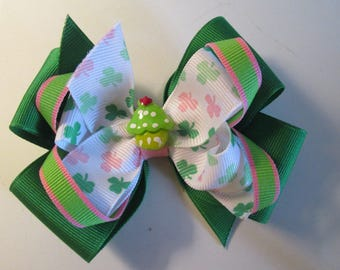 St Patrick's Hair Bow, Double Boutique Hair Bow, Loopy Shamrock Green and Pink Hair Bow, Green CupcakeHair Bow, Toddler Hair Bow,