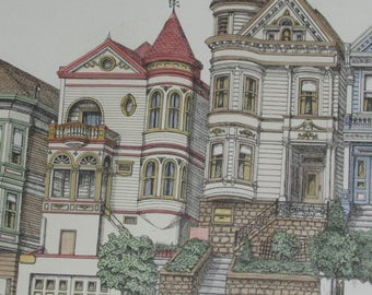 Large Lithograph Picture Painted Lady Houses DEBBIE PATRICK San Francisco Signed Dated 1983
