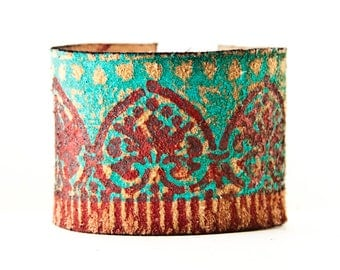 Turquoise Jewelry Leather Cuff Southwest Bracelet