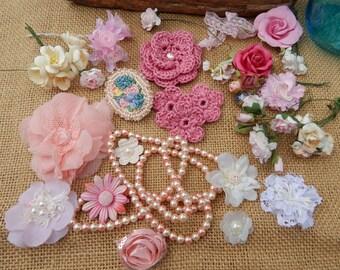 Pink Feminine Craft Supplies  ~  Pink Victorian Style Craft Supplies  ~  Pink Flowers Pearls and Lace