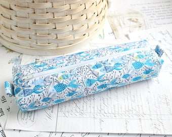 Blue and White Fish Pencil Case Boxy Pouch Underwater Zipper Pouch Blue and White Pencil Pouch