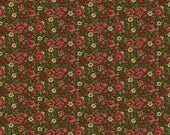 NEW Liberty Hill Quilt Fabric 100% Cotton Americana  Over One Yard Cut of Coordinating Red Floral on Green